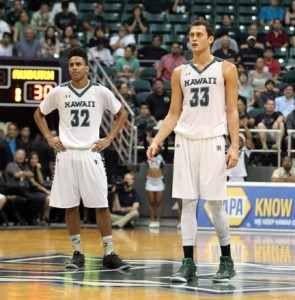 December 25, 2015 - Hawaii Rainbow Warriors guard Aaron Valdes (32) and Hawaii Rainbow Warriors forward Stefan Jankovic (33) during action between the Auburn Tigers and the Hawaii Rainbow Warriors in the Diamond Head Classic at the Stan Sheriff Center on the campus of the University of Hawaii at Manoa in Honolulu, HI. -  Michael Sullivan/GPM