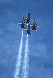 October 18, 2015 - The Blue Angels perform in the skies above Windward Oahu for an air show at the Kaneohe Marine Corps Base in Hawaii. Michael Sullivan/Guava Press