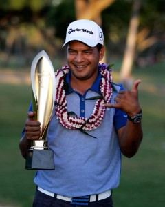 January 17, 2016 - Sony Open winner Fabian Gomez celebrates after the final round of the Sony Open at the Waialae Country Club in Honolulu, HI. - Michael Sullivan/GPM